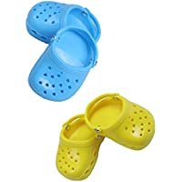 LuckDoll Blue & Yellow Doll Shoes Sandals Set, Fits 46cm American Girl Dolls