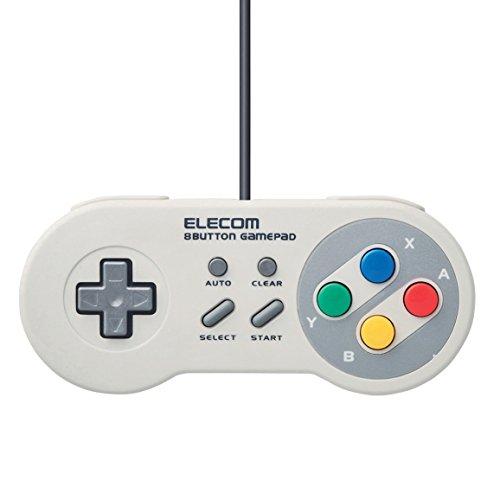 エレコム ゲームパッド 8ボタン スーパーファミコン風 高耐久...