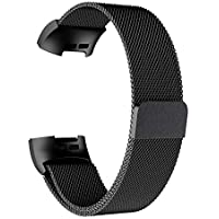 Casualcatch Stainless Steel Watch Band Strap for Fitbit Charge 3 (Black L)