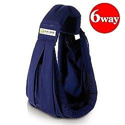 kerätä 新生児 ベビースリング 成長に合わせて使える6WAY 抱っこひも 日本正規品(国内安全基準適合品) (ネイビー)
