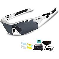 偏光レンズ スポーツサングラス UV400紫外線カット 交換レンズ5枚 超軽量 釣り/自転車/野球/ゴルフ/ランニング/ドライブ/登山 偏光サングラスセット