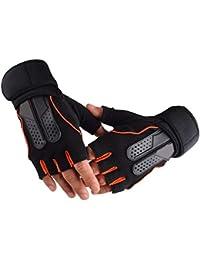 Lishirao サイクリング登山フィットネス用の男性用フィットネスグローブ3色オプションの滑り止め通気性ハーフフィンガーグローブ (Color : Orange, Size : XL)