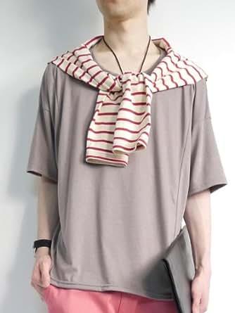 (モノマート) MONO-MART 5color Uネック ドルマン サマーニットソー カットソー Tシャツ メンズ ベージュ