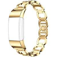 OVERMAL Genuine Stainless Steel Bracelet Smart Watch Band Strap For Fitbit Charge 2 (For Fitbit Charge 2, Gold)