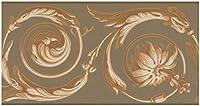 York Prepasted壁紙ボーダー - 抽象ミュートゴールドダマスクバインズブラウンウォールボーダーレトロなデザイン、ロール15フィート。 X 7で。