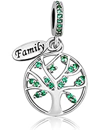 JewelryHouse Family Tree of Life Simulated Green Crystal Love Charms fit Bracelets