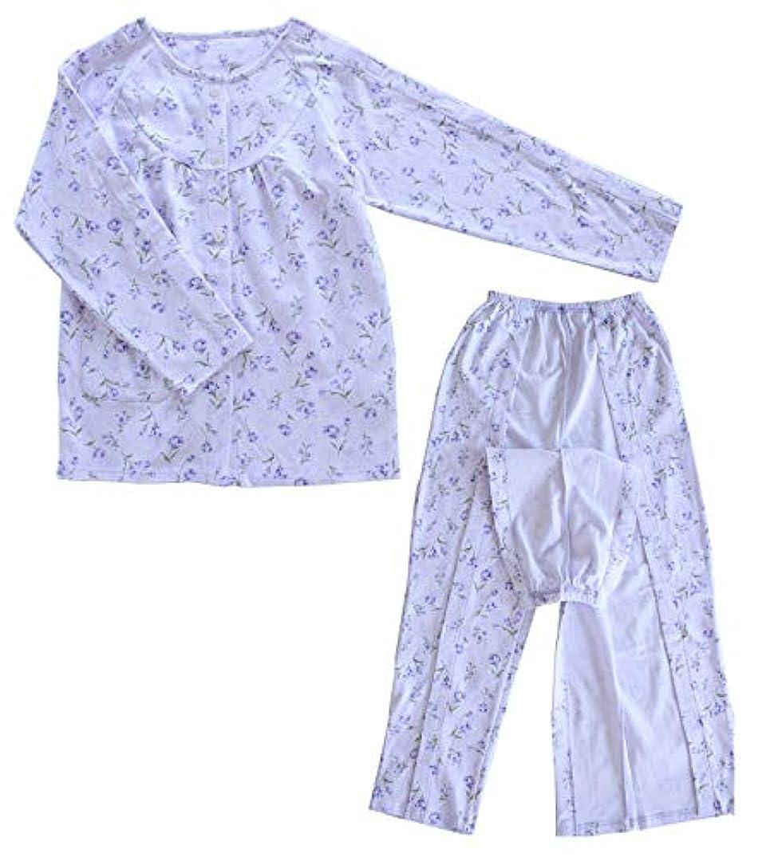 キャラバンロンドンネコ(マソンナーニ)Masonanic 婦人 介護 パジャマ マジックテープで全開 ワンタッチ 上下セット花柄 女性 お世話しやすい機能的介護ねまき (紫, L)
