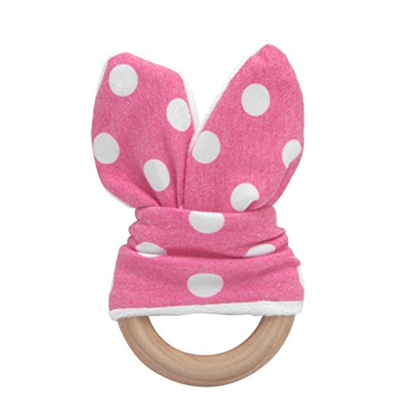 ホットピンク&ホワイトかわいい赤ちゃん安全木製Natural Teething Ring Teether Bunny Sensory Toyギフト