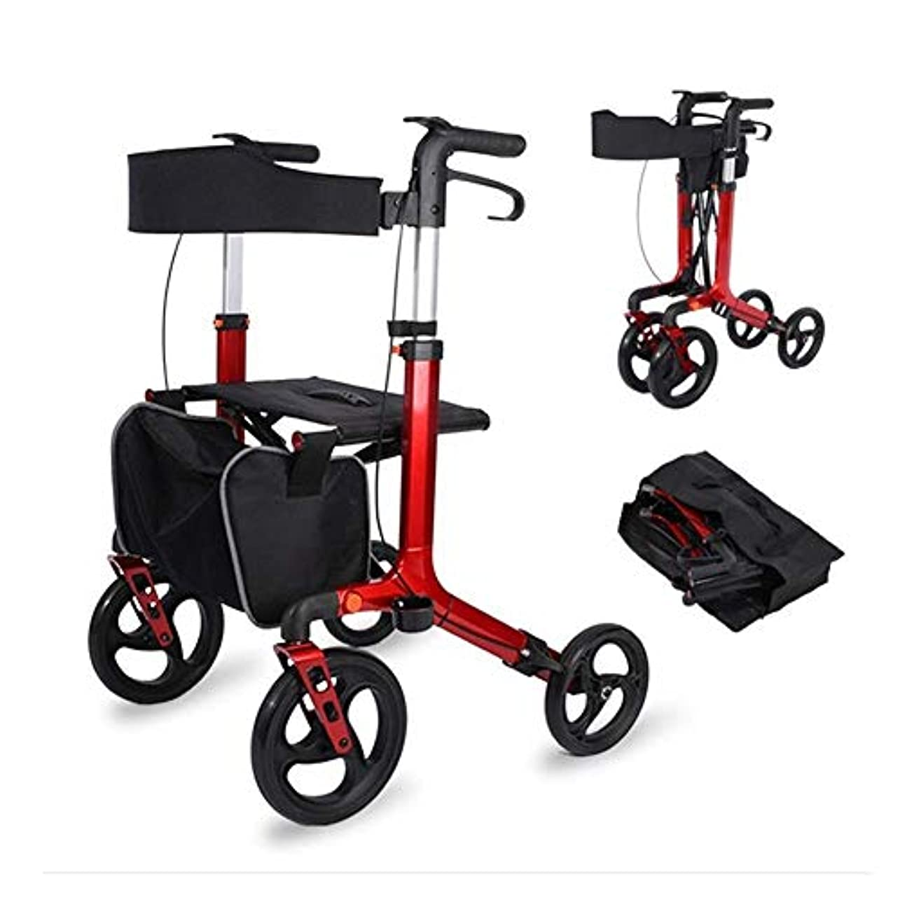 フットボール受粉者幅折りたたみ式歩行器、調節可能な高さ4ホイールショッピングトロリーレストシートと収納袋デュアルブレーキウォーキングフレーム
