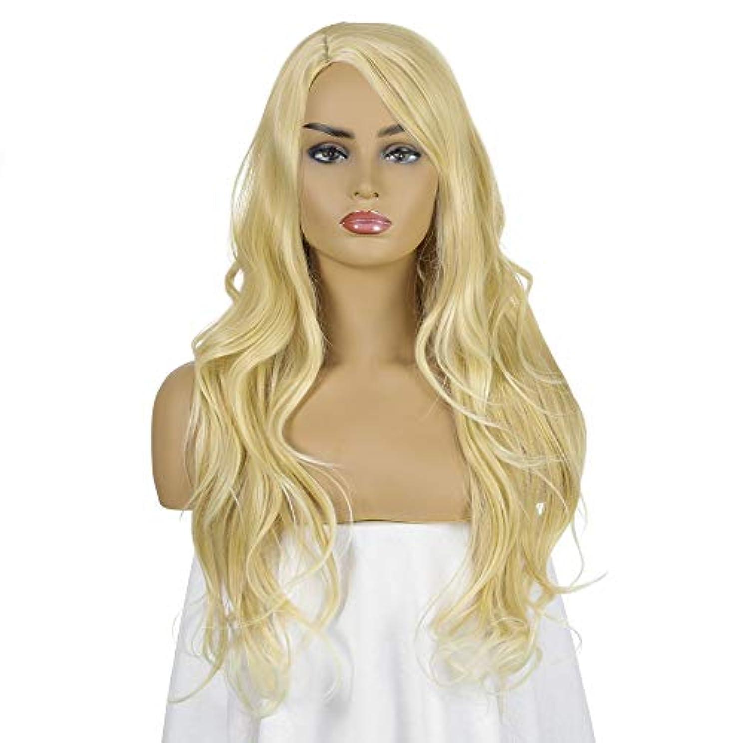 没頭するのぞき見腹部女性用ブロンドロングカーリーウェーブウィッグ26インチ人工毛交換ウィッグハロウィンコスプレ衣装アニメパーティーファッションウィッグ