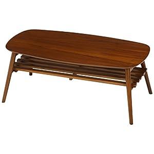 不二貿易 センターテーブル 折りたたみテーブル 木製 ウォルナット 棚付き 完成品 100×50cm ミディアムブラウン 95780