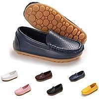 Sakuracan Boys Girls Leather Loafers Slip-on Boat Dress-Shoes (Toddler/Little. US