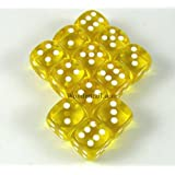 Yellow Translucent Dice White Pips D6 12mm Pack of 12 Wondertrail WCX23802E12