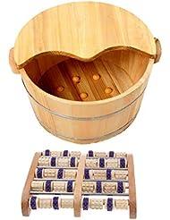 Perfeclan ウッドマッサージ 足つぼ フットマッサー タイトステッチ 足裏 ツボ押健康 木製の足の洗面台付き