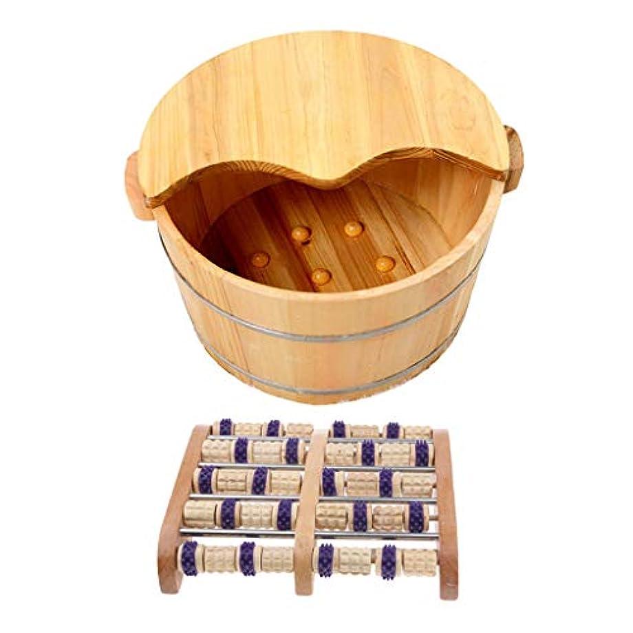 中世の削減農場Perfeclan ウッドマッサージ 足つぼ フットマッサー タイトステッチ 足裏 ツボ押健康 木製の足の洗面台付き