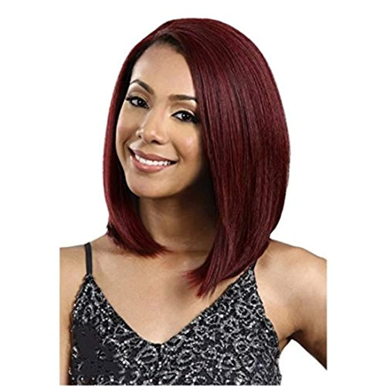 何十人も熟読責任Kerwinner 女性のための前髪の髪のかつらとミディアムストレートヘアレッドウィッグヘッドギア耐熱合成かつら