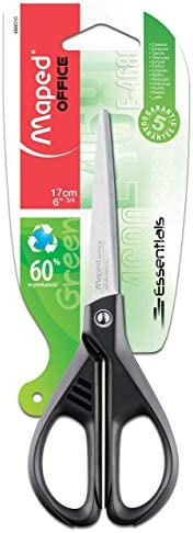 Maped 8468010 Essentials 17CM Scissor with 70% Recycled Handle,Green