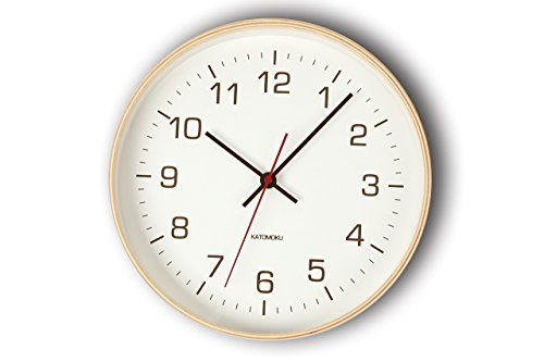 KATOMOKU plywood wall clock 4 電波時計 連続秒針 km-44NRC φ252mm