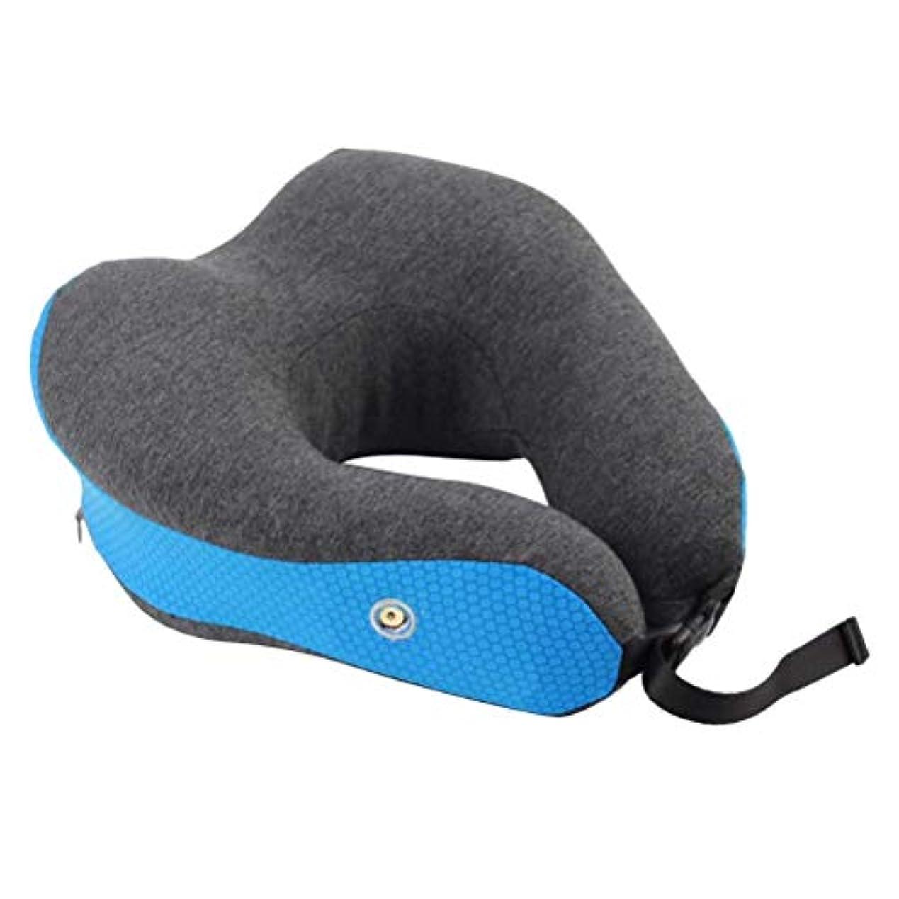 ダイバー過度のガジュマルHEALIFTY 首のサポートの首の枕USBソフトピローのヒートU字型ネッククッション車のための車のホームまたはオフィスバッテリなし(青)