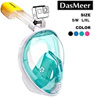 Full Face Snorkel Mask,DasMeer Seaview 180°GoPro Compatible Mask with Adjustable Head Straps & Easy Breathing & Anti-Fog...
