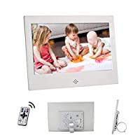 デジタルフォトフレーム10インチHDデジタルフォトフレームUSB / SDカードスロットとリモートコントロールデジタル画像付き16:9ワイドスクリーンLEDスクリーン,Silver