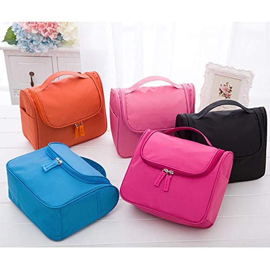 オレンジ メイクボックス/化粧用バッグ 化粧バッグ 化粧品入れ 洗面用具入れ ストレージトラベルキット フック付き 旅行用 家用