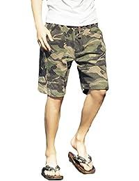 Kankanluck メンズ夏のカジュアルなズボン迷彩bechwear締め紐のボードショーツ