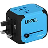 Travel Adapter, UPPEL International Power Adapter, European Adapter with Dual USB, Power Adapter Wall Charger for US EU UK AU About 151 Countries Universal Plug Adapter with Dual Safety Fuse (Blue)