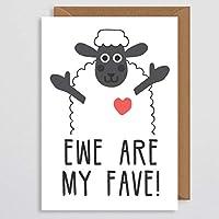 バレンタインカードの妻 - ガールフレンドバレンタインカード - かわいい動物カード - 羊のバレンタインカードプン - 羊は私のお気に入りです - 彼女へのバレンタインギフト - 彼のための - ボーイフレンド - ガールフレンド - 夫 - 妻
