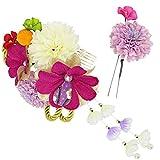 髪飾り 2点セット レディース 和花 パール 赤紫色 白色 N3295