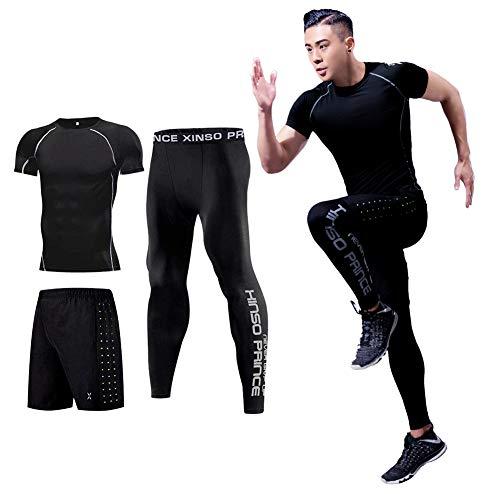 (コージョー) kojo コンプレッションウェア セット スポーツウェア メンズ 上下 セット トレーニング ランニング ジム フィットネス 吸汗 速乾 (XL, 黒&白_0105(3点セット))