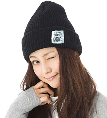 T-Wilker ニット帽 レディース メンズ 帽子 大きいサイズ かわいい ニットキャップ 秋冬 ワッチ 無地 暖かい 男女兼用 通勤 通学 (ブラック)