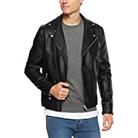 French Connection Men's Leather Look Biker Jacket