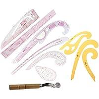 Perfk 9個入り 曲線のルーラー 布ホイール 裁縫 定規 ドローイング  テンプレート カーブエッジ セット 使いやすい