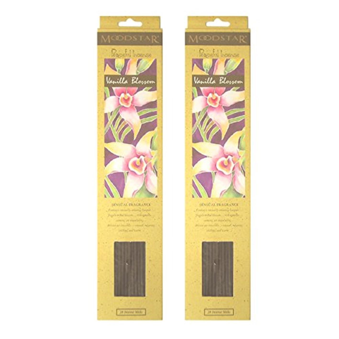 期待して定期的中庭MOODSTAR ムードスター Vanilla Blossom バニラ?ブロッサム お香 20本 X 2パック (40本)