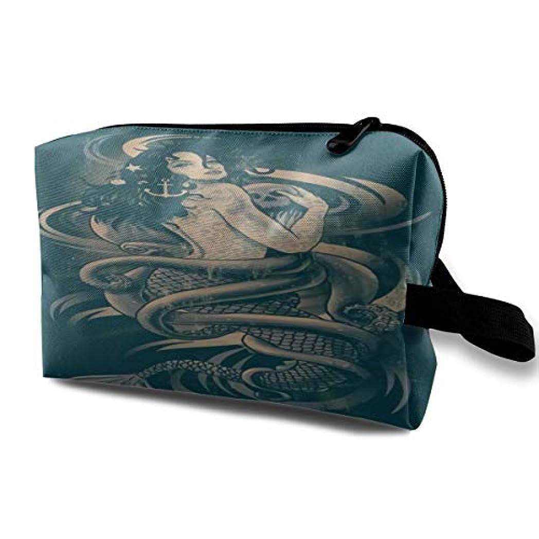 バック汚れた想定するRetro Vintage Mermaid 収納ポーチ 化粧ポーチ 大容量 軽量 耐久性 ハンドル付持ち運び便利。入れ 自宅?出張?旅行?アウトドア撮影などに対応。メンズ レディース トラベルグッズ