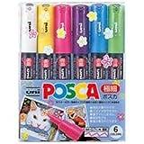 三菱鉛筆 ポスカ/POP用マーカー 【極細 6色セット】 水性インク PC1M6C 鮮やかで耐水性に優れたサインペン フェルトペン 水性ペン [並行輸入品]
