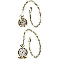 Frank Phillipe Men's Antique Design Pocket Watch Pendant with Chain, Analog Quartz Extra Battery (Gold)