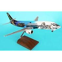 1: 100 スカイマークスSuprem Alaska 航空 ボーイング 737-400 Statehood Livery, with Landing Gear and Wood Stand (並行輸入)