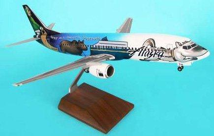 1: 100 スカイマークスSuprem Alaska 航空 ボーイング 737-400 Statehood Livery, with Landing Gear and Wood Stand (並行輸