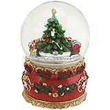 NorthLightマルチカラークリスマスツリーとTrain回転Musical Water Globeドーム、5.5インチ、レッド