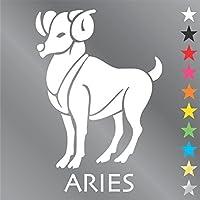 牡羊座 ステッカー (おひつじ座・aries) ホワイト