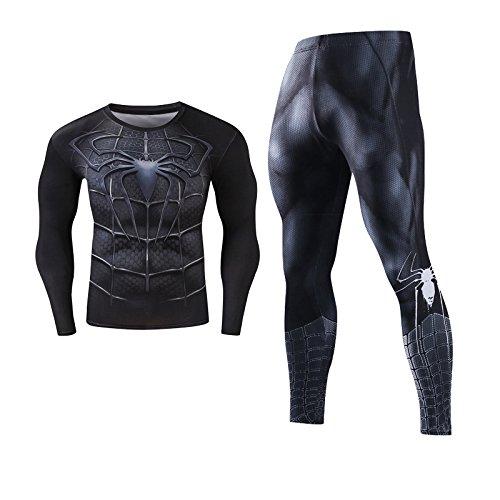 MINJON 欧米スタイル リアルボディ カジュアル タイト 長袖Tシャツ レギンスパンツ トレーニングウェア上下セット アニメーション スーパーヒーロー スパイダーマン