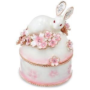 [ピィアース] PIEARTH ジュエリーボックス ウサギと桜B(ホワイト) EX456-1