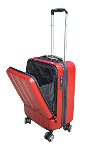 【機内持込みサイズなので出張などに大活躍】フロントオープンポケットスーツケース 【大容量 34L / TSAロック搭載 / 軽量設計 / 耐衝撃性 / 4輪スムーズ走行】 (レッド)