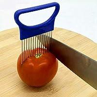 キッチン用品 ステンレス鋼 野菜 玉ねぎ カッター ホルダー ミートニードル, (色 : 青)