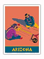 アリゾナ州 - ホピインディアンズの砂の絵 - サンタフェ鉄道 - ビンテージな鉄道旅行のポスター c.1940s - アートポスター - 23cm x 31cm