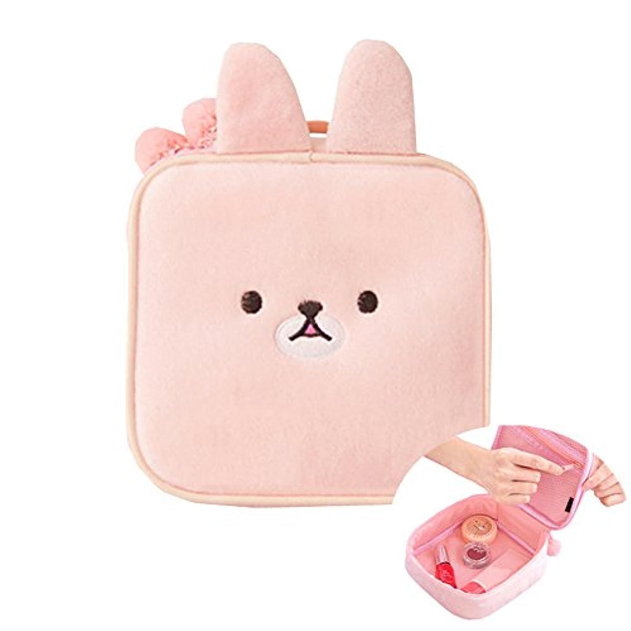 良いも かわいいウサギの化粧品袋漫画の女の子のミニポーチ旅行ウォッシュメイクツールオーガナイザーケースボックスアクセサリー用品