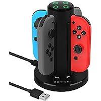 Rantom Nintendo Switch Joy-Con充電スタンド 知能断電モード付き ニンテンドースイッチ Joy-Con充電グリップ ジョイコン 急速充電ホルダー 4台同時に充電可能 充電指示ランプ USBケーブル付き(一年間の保証付き)(ブラック)
