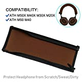 ATH M50 Headband Cover Replacement Headband Protector with Zippe for ATH M50X M50 M40X M40 M30X M20X Headphones Replacement Headband Cushion Pad(Brown + No Tool Needed)